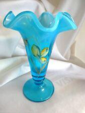 Fenton Art Glass Hand Painted Blue Lagoon Whispers Trumpet Vase New 5983UF