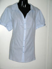 Millers Blue White Stripe Size 20 Short Sleeve Blouse Gathers to Bust Poly/Cotto