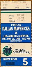 1996 Dallas mavericks Vs Los Angeles Clippers nov 21 ticket stub REUNION ARENA