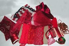 Vtg Huge Lot Remnants Xmas Crafts, Doll Clothes All Red Fabric, Lace, Ribbon