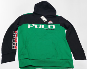 New Polo Ralph Lauren Green Black Waffle P Racing 92 PRL Classic Fit Hoodie XL