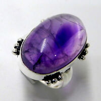 Natural Amethyst Gemstone Jewellery 925 Sterling Silver Plated Ring UK Size-O
