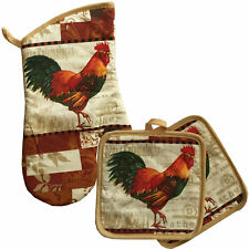 Rooster Tan Theme Oven Mitt & Pot Holder Kitchen Decor Home Collection