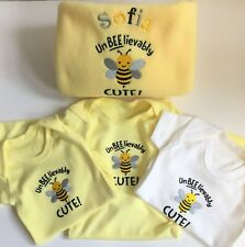 Personalised Baby Blanket Embroidered 'Unbeelievably Cute Bee' Design Baby Gift