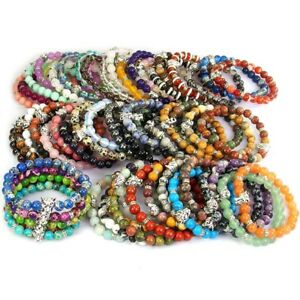 Wholesale Natural Gemstone Beads Reiki Chakra Energy Stone Tiger Bracelet 8mm