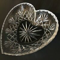"CRYSTAL HEART SHAPE DISH CUT & ETCHED GLASS 7 1/4"" CANDY NUT VINTAGE"