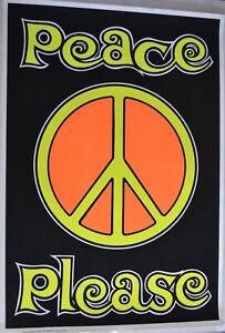 Original Print 1960s Peace Please Blacklight Poster