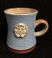York Rose Art Pottery Coffee Mug Blue Handmade Handthrown Made in England