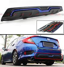 For 2016-18 Honda Civic 4d Sedan Carbon Texture Rear Bumper Diffuser Blue Accent