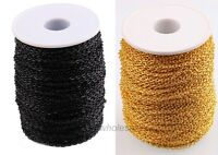 3M/10M Lots Black / Gold Cable Open Link Iron Metal Chain Jewelry Findings