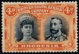 Rhodesia 1910-13 double head issue 4d. greenish black & orange, MH (SG138)