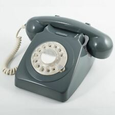 More details for gpo 746 rotary 1970s-style retro landline phone, curly cord, authentic ring grey