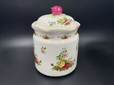 "Royal Albert Old Country Rose 8"" Tall Large Cookie Jar with Lid"