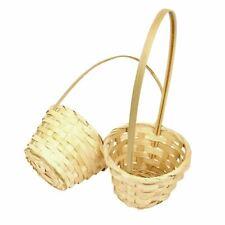 Single Tall Handle Small Pot Mum Flower Girl Baskets. Wicker Wedding Florist 1x
