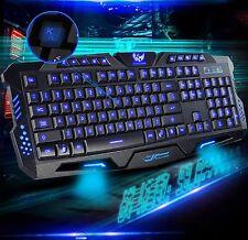Illuminated USB Wired Backlit Ergonomic Multimedia LED Copmuter Gaming Keyboard