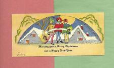 CAROLERS Near COTTAGES On Beautiful Vintage Art Deco CHRISTMAS Greeting Card