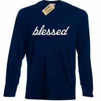 Blessed Graphic Tee Grateful Religious christian Long sleeve T Shirt top