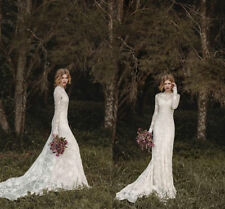 Wedding Dresses White Ivory Lace Bohemian Bridal Gowns Long Sleeve Slim Country