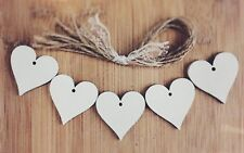 wooden hanging hearts Decoration Rustic Nordic White 5x heart xmas wedding