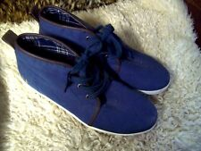 I LOVE LONDON/TRU SHOES/BLUE CANVAS/LACE-UP/ANKLE BOOT STYLE/SLIDES/SIZE 9*