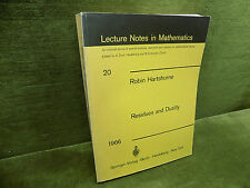 RESIDUES AND DUALITY Robin Hartshorne Lecture Notes in Mathematics 20