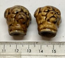 x2 Antique Vintage (1880's?) Pottery DOG Head Pencil Toppers - Sold as a Pair