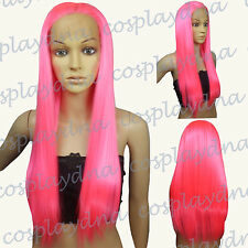 """28"""" Heat Resistant Lace Front Hot Pink Straight Long Cosplay Full Wigs TRFH"""