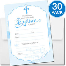 Boys baptismchristening greeting cards invitations for sale ebay 30 baptism invitations boy with envelopes religious christening celebration m4hsunfo