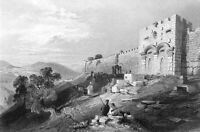 Jerusalem Old City Walls GOLDEN GATE ETERNAL LIFE ~ 1847 Art Print Engraving