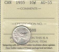 1935 Ten Cents ICCS AU-55 Beautiful AU-UNC LOW Mintage KEY George V Canada Dime