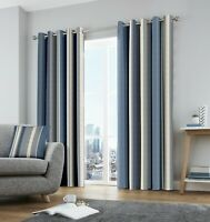 Fusion Whitworth Stripe 100% Cotton Ready Made Fully Lined Eyelet Curtains Blue