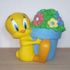 Vintage Warner Bros Store Tweety Pie Money Box Piggy Bank Tweetie Flowers 1998