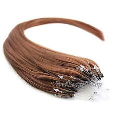 "50 Micro Loop Ring Beads I Tip Indian Remy Human Hair Extensions 22"" Auburn #33"