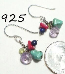925 SILPADA Blue Turquoise/Red Coral/Amethyst/Lapis Dangle Cluster Hook Earrings