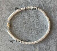 925 Silber Armband, AAA 3-3.5 mm weiß Barock Perle Armband