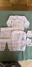 baby two colors knit sweater, pant, bonnet & socks
