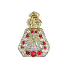Czech Jeweled Decorative Clear Red Stone Perfume Oil Bottle Holder