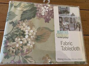 "Martha Stewart Hydrangea Cotton Floral Fabric Tablecloth Oblong 60""x84"" NEW"