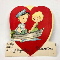 Vtg Boy & Girl In Boat Valentines Card Ephemera Paper Holiday Greeting 1940s 50s