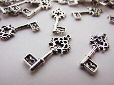 Antique Silver Key Charms 20pcs Design 1 Steampunk Vintage Pendants Kitsch