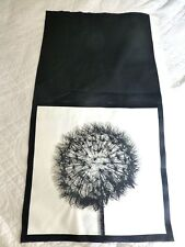 CUSHION PANEL Fabric Cotton Craft Panel UPHOLSTERY Black Ivory DANDELION CLOCK