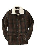 NWT OLD NAVY BROWN PLAID SHERPA LINED WOOL BLEND BARN COAT NICE !!