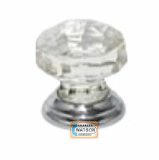 Glass Cupboard Door Knob 38mm Faceted Handle Chrome Plated Backplate