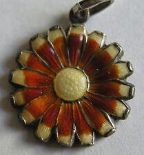 Vintage Deco German Silver & Enamel Daisy Flower Charm ~ Gorgeous Colors!