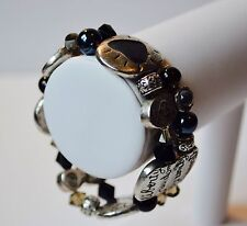 Vintage Pewter Virtues bracelet with beads and stones. Beautiful!
