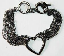 Chain Multi Strand Bracelet Kpb3252W Nwt Marysol Rustic Silver Heart