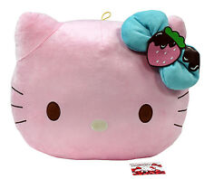 "New Eikoh Hello Kitty Chocolate Strawberry 14"" Pink Chubby Head Cushion Pillow"