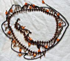 Exquisito Collar de Cinturón de Danza del Vientre Boho Hippy Negro Metal Abalorios Naranja