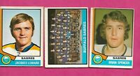 1974-75 OPC SABRES SPENCER + LEMAIRE + TEAM CL  CARD  (INV# C1512)