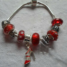 Handmade ~ European Bead ~ Rosso ~ Bracciale con Charm